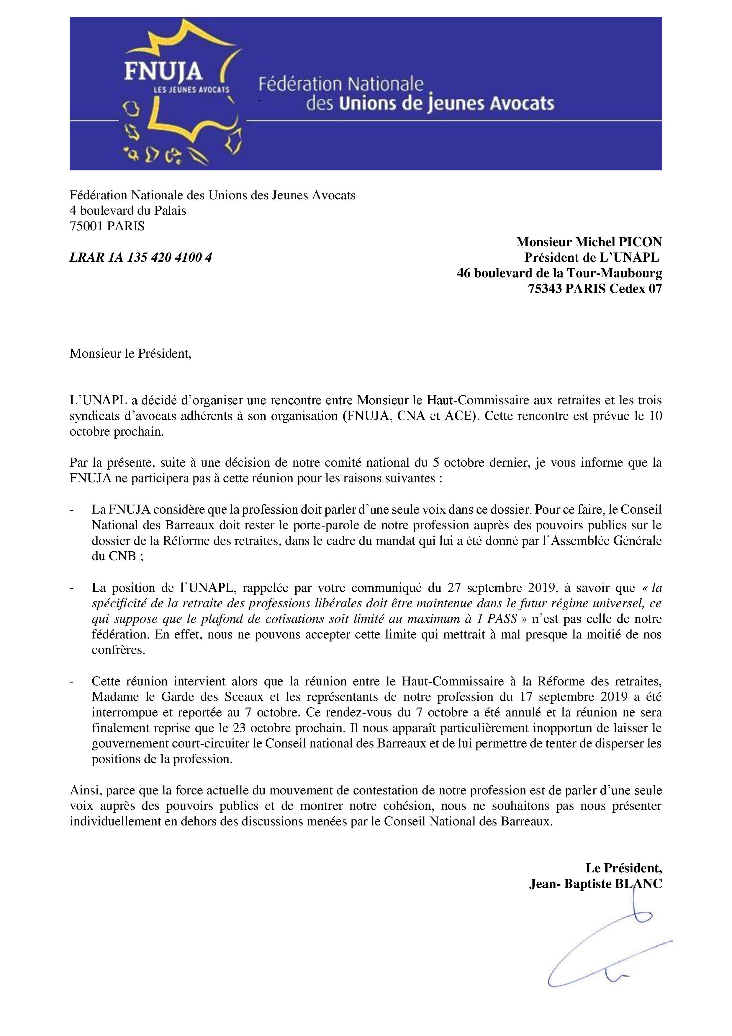 Courrier « ouvert » adressé au Président de l'UNAPL