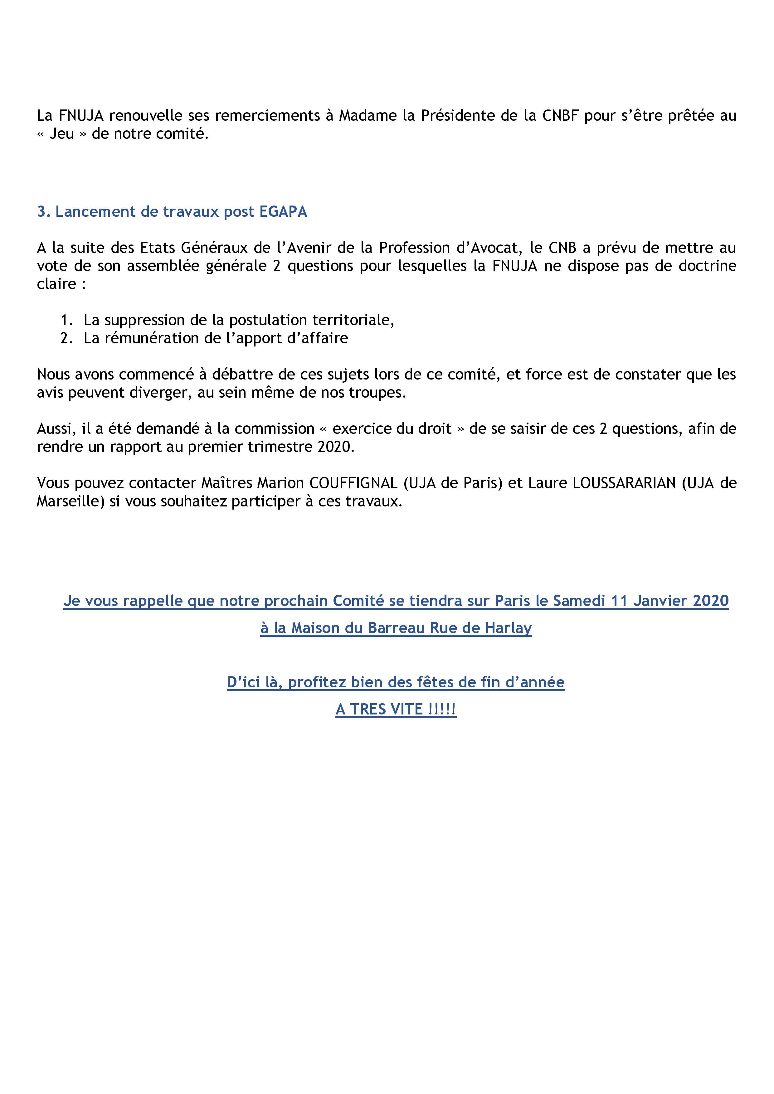 Synthèse du Comité décentralisé du 07 décembre 2019