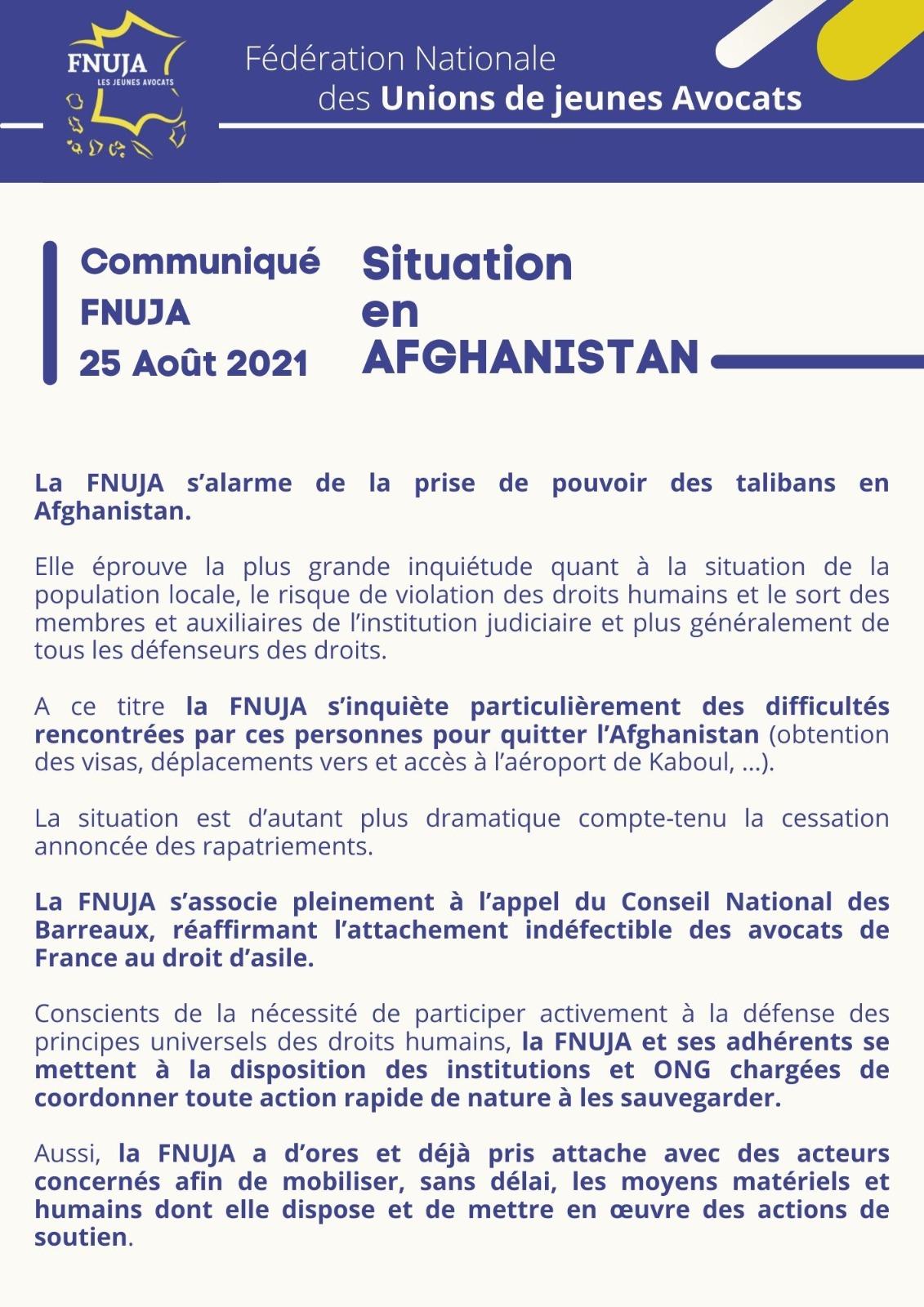 Communiqué sur la situation en Afghanistan
