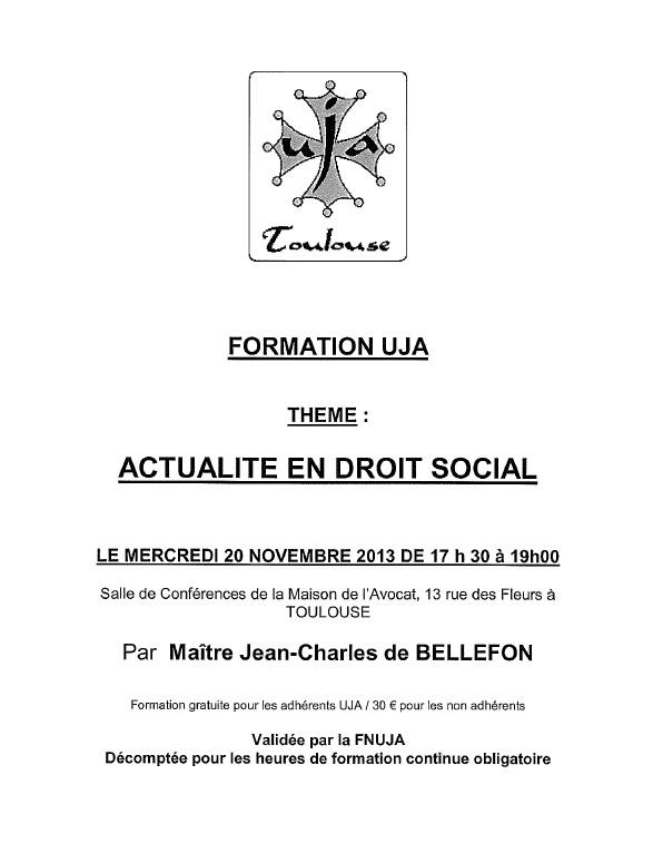 TOULOUSE - Formation : ACTUALITE EN DROIT SOCIAL