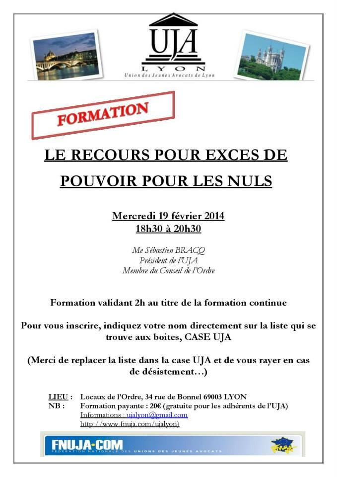 LYON - Formation : LE RECOURS POUR EXCES DE POUVOIR