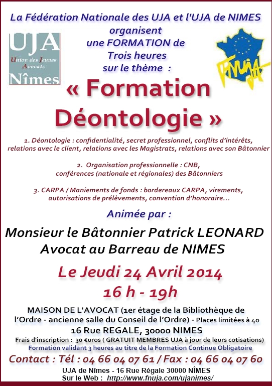 NIMES - Formation : DEONTOLOGIE