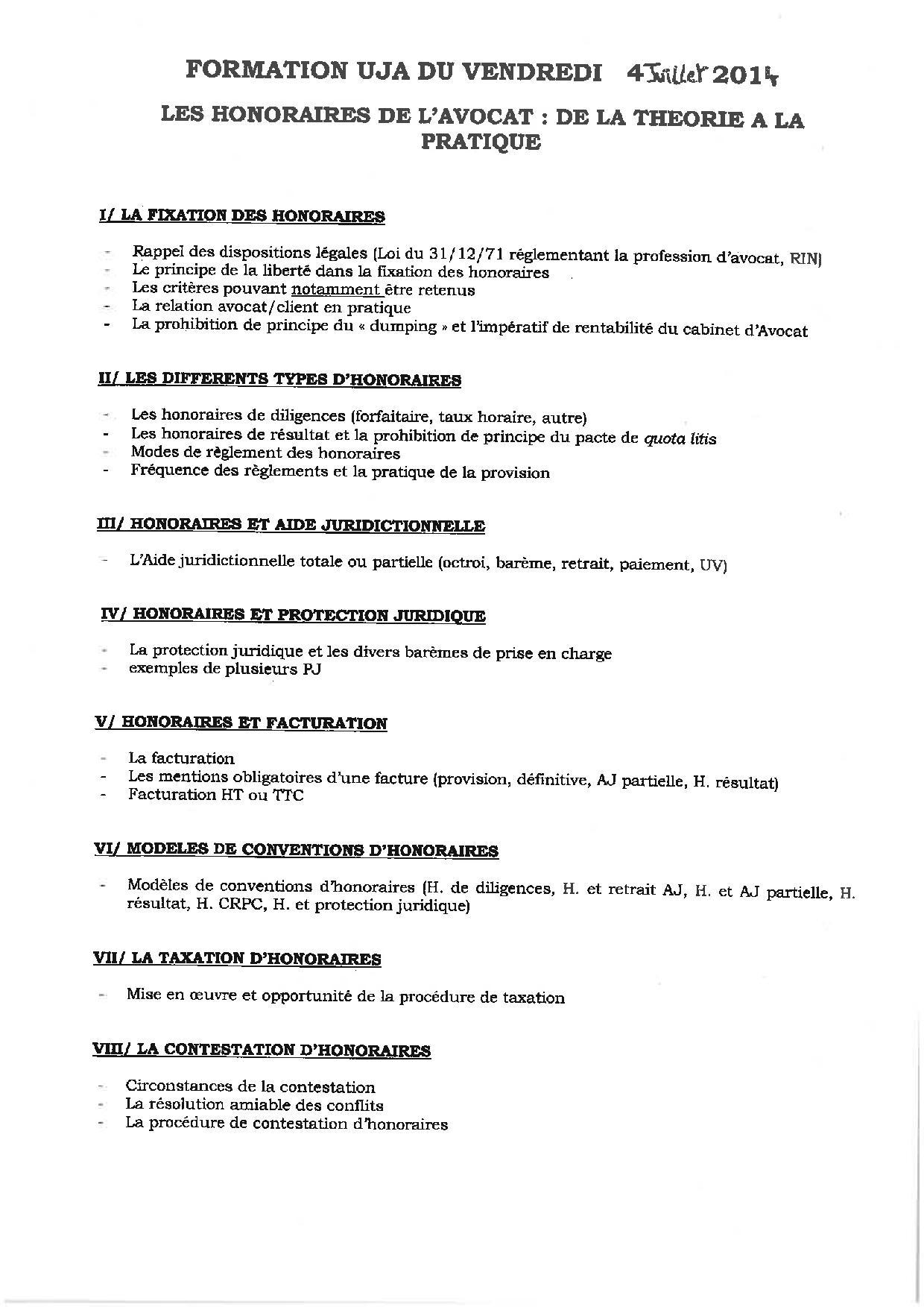 METZ - FORMATION : LES HONORAIRES DE L'AVOCAT : DE LA THEORIE A LA PRATIQUE