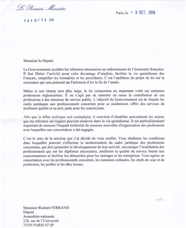 Professions réglementées : Etude d'impact territorial, la lettre de mission de Monsieur le Député FERRAND
