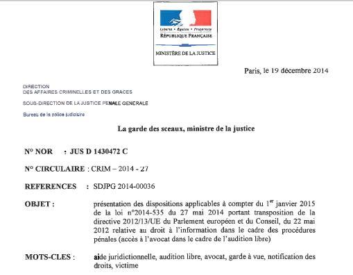 Audition Libre - Entrée en vigueur de la Loi du 27 mai 2014