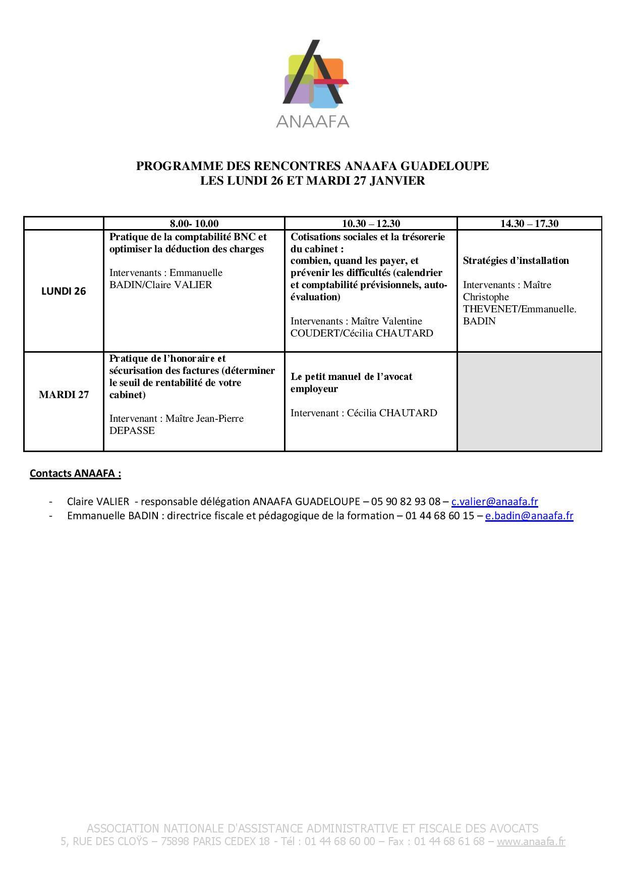 GUADELOUPE- Formation de l'ANAAFA sur la gestion de cabinet