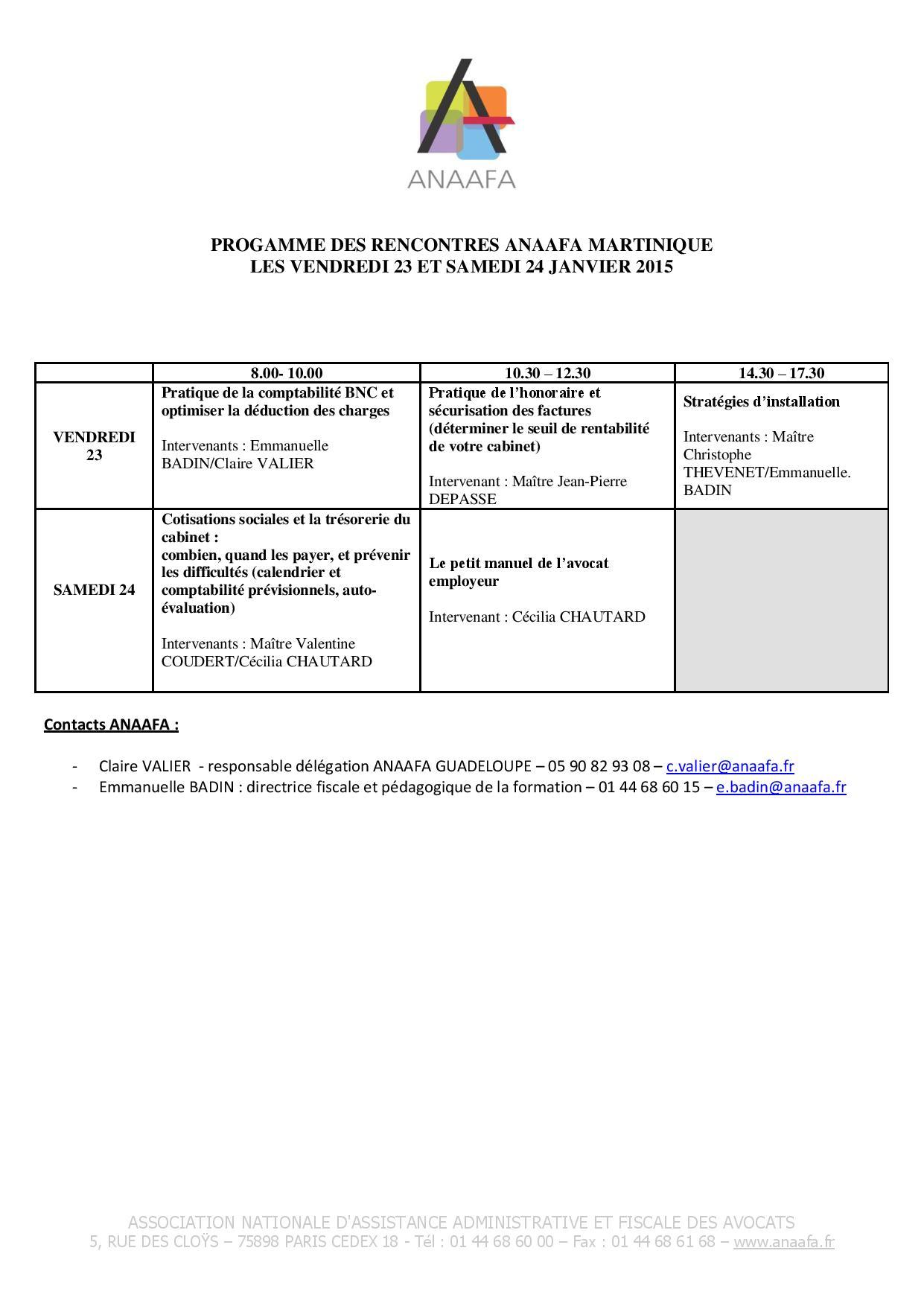 MARTINIQUE- Formation de l'ANAAFA sur la gestion de cabinet