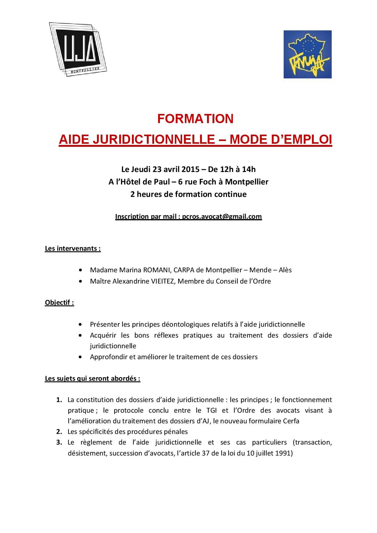 MONTPELLIER: FORMATION: AIDE JURIDICTIONNELLE – MODE D'EMPLOI