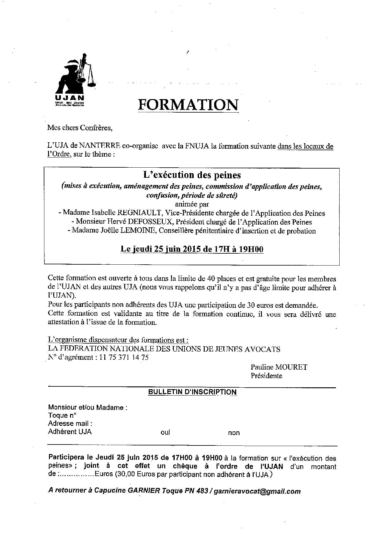 NANTERRE - Formation: l'exécution des peines