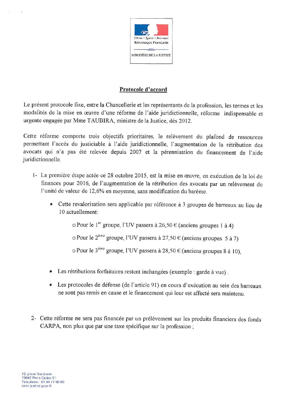 Le protocole d'accord sur l'aide juridictionnelle
