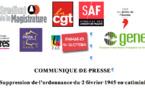 COMMUNIQUE DE PRESSE - Suppression de l'ordonnance du 2 février 1945 en catimini