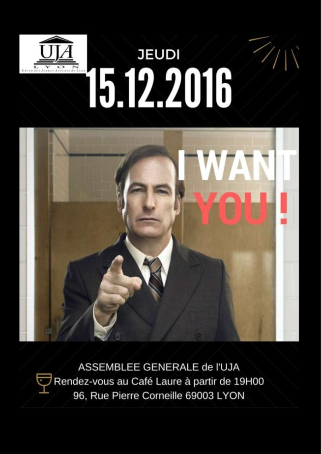 Assemblée Générale de l'UJA le jeudi 15 décembre 2016