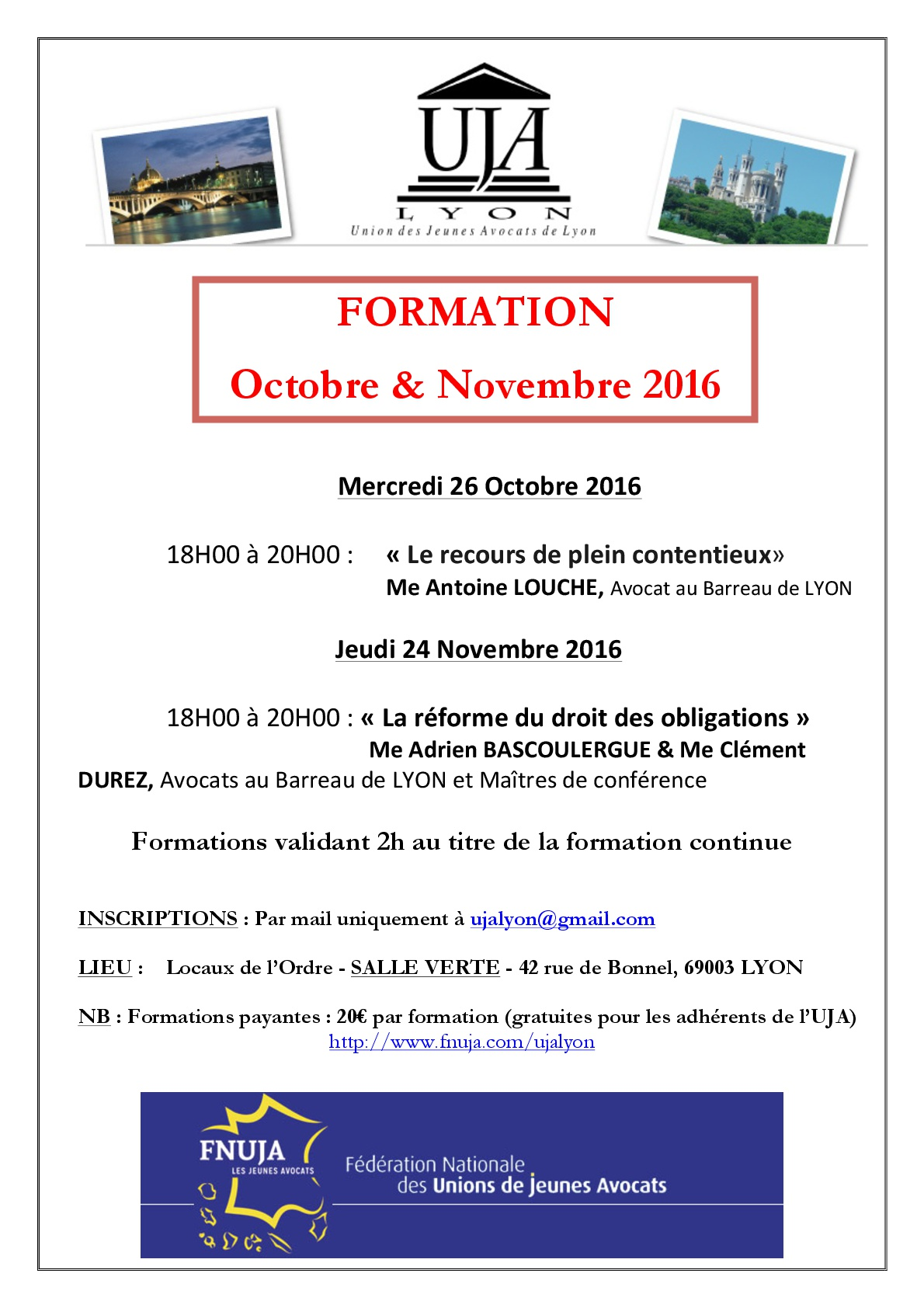 Calendrier des formations OCTOBRE / NOVEMBRE 2016