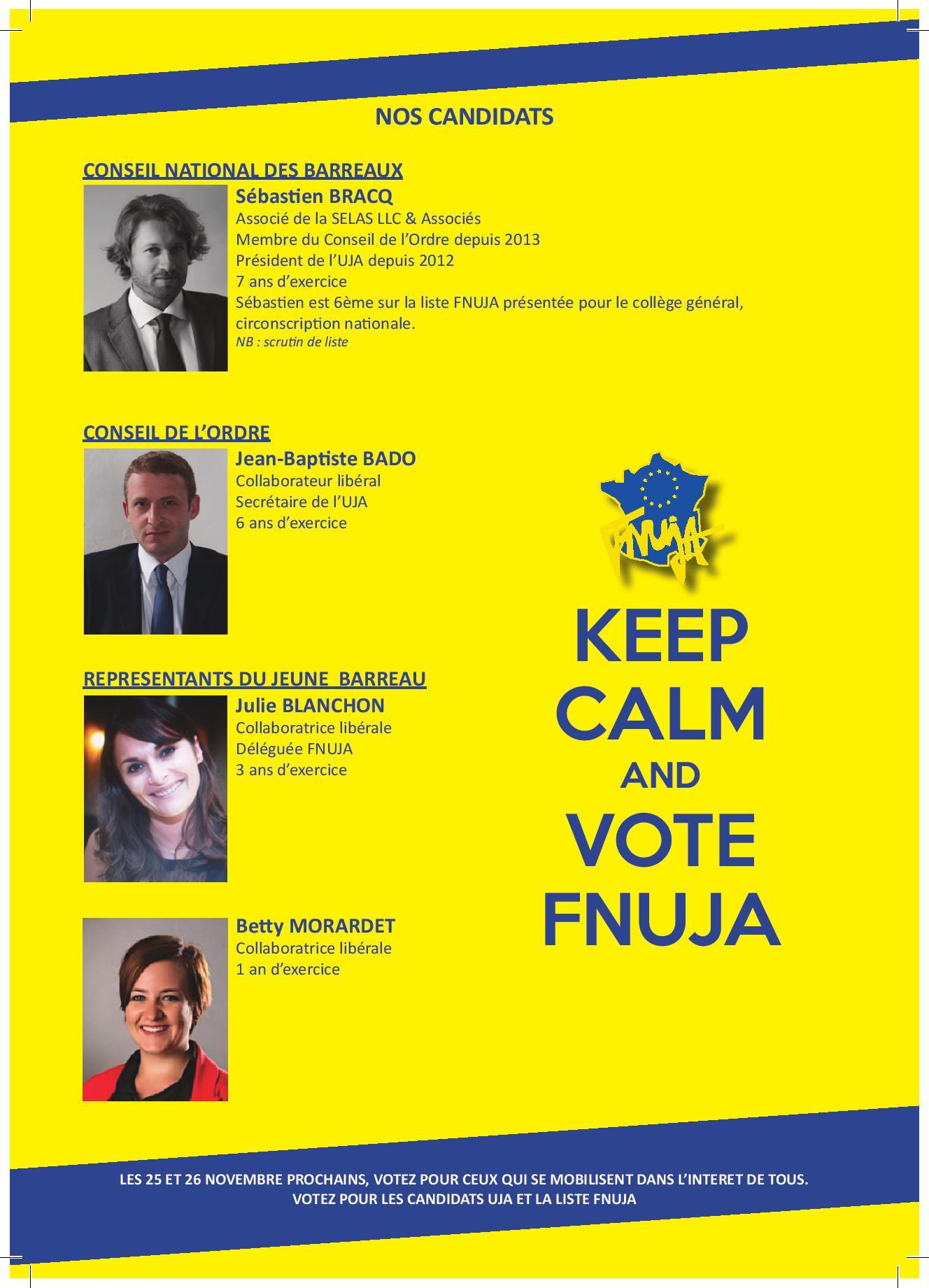 Elections au CO, CNB et RJB: Votez UJA / FNUJA