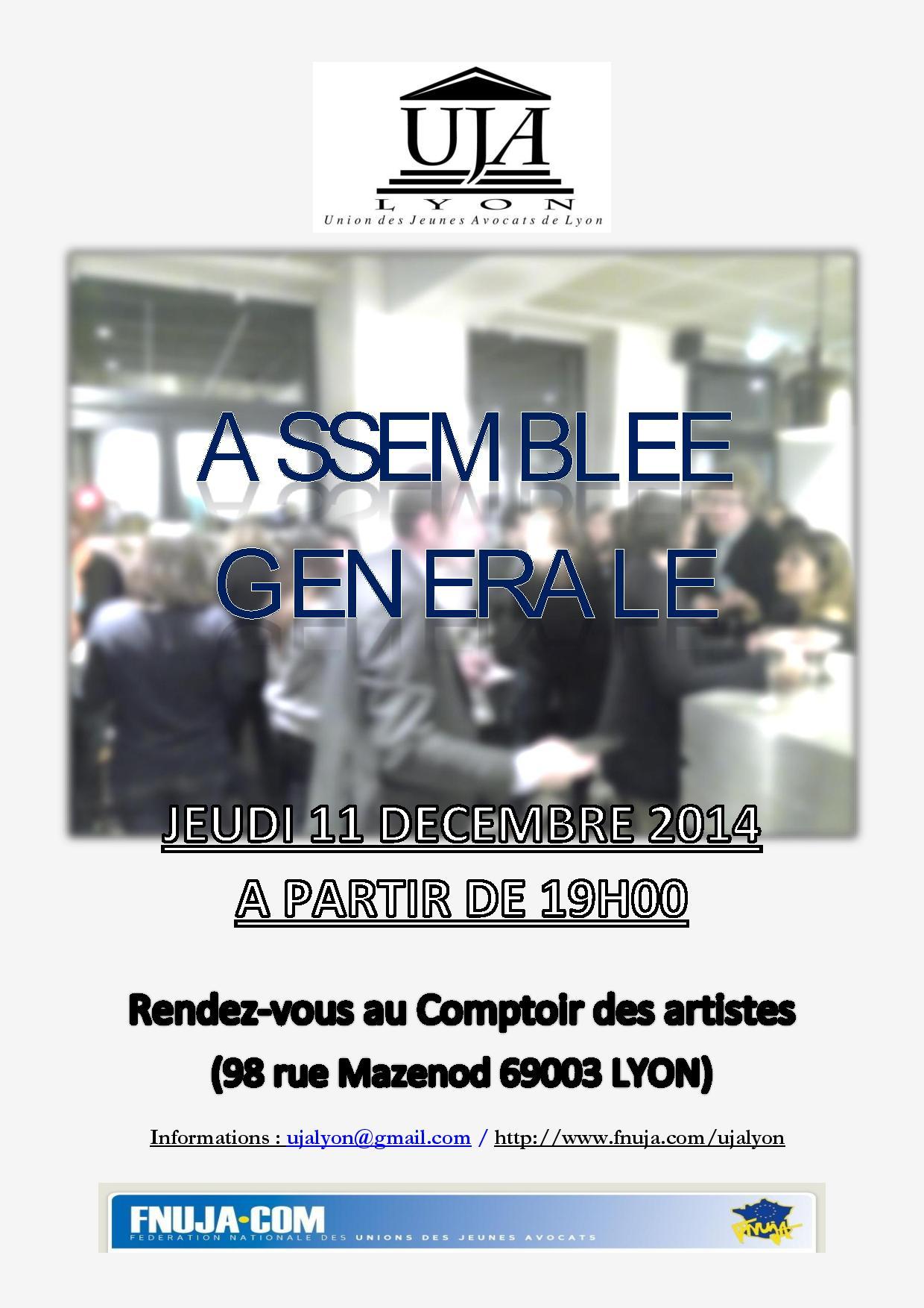 Assemblée générale de l'UJA le 11 décembre 2014