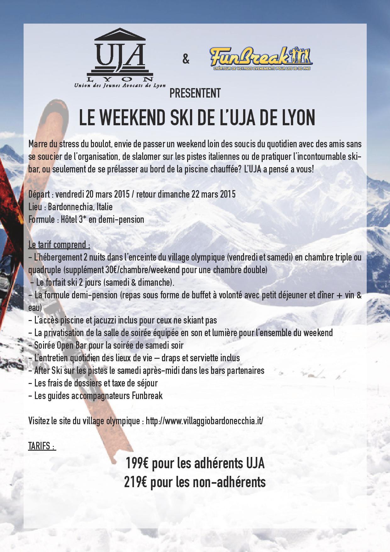 WEEKEND SKI DE L'UJA du 20 au 22 mars 2015