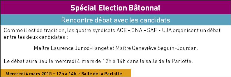 Débat intersyndical des candidates au Bâtonnat