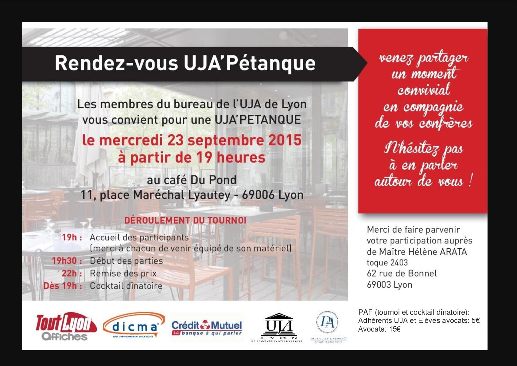 UJA'Pétanque : rendez vous le 23 septembre 2015 au Café Du Pond