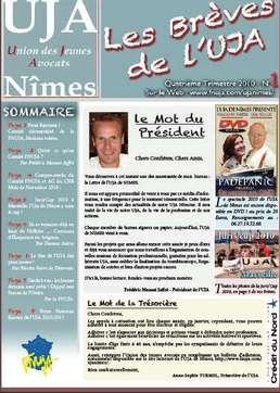 Le numéro 1 des Brèves de l'UJA de Nîmes est disponible !