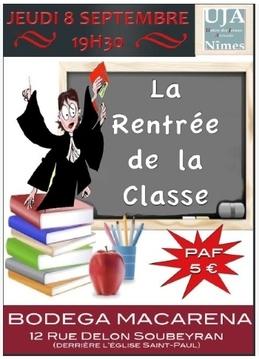 """Apéro """"La rentrée de la Classe""""    -    Jeudi 8 Septembre à 19h30 à la Bodega Macarena à Nîmes"""