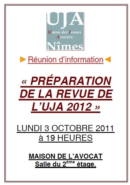 Réunion d'information - Préparation de la revue de l'UJA 2012