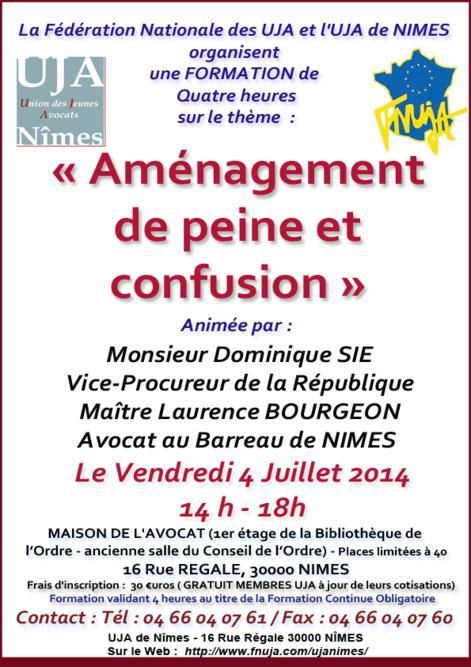 """Formation UJA - Le 4 Juillet 2014 - Sur le thème """"Aménagement de peine et confusion"""""""