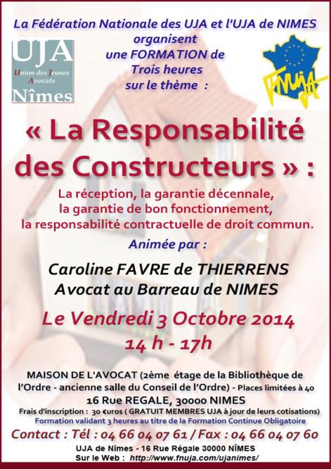 """Formation UJA - Le 3 Octobre 2014 - Sur le thème """" La Responsabilité des Constructeurs """""""