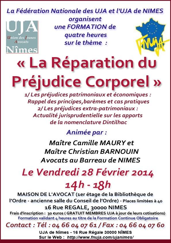 """Formation UJA - Le 28 Février 2014 - Sur le thème """"La réparation du préjudice corporel"""""""